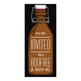 "Funny Bonfire & Beer BQ Barbecue Engagement Party 4"" X 9.25"" Invitation Card"