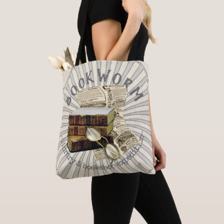 Funny Bookworm Vintage Library Books Tote Bag