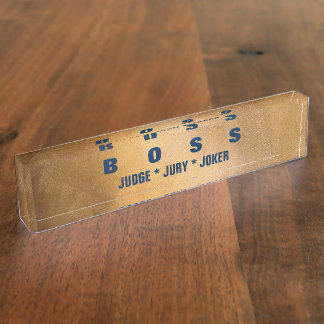 Funny Boss Copper And Navy Desk Nameplates. Desk Name Plate