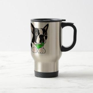 Funny Boston Terrier Dog Drinking Margarita Travel Mug