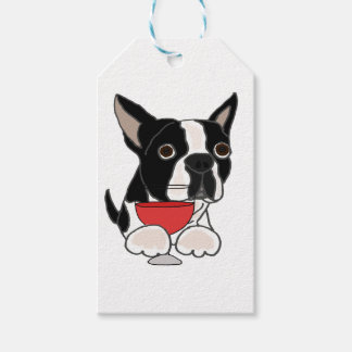 Funny Boston Terrier Dog Drinking Wine Art Gift Tags