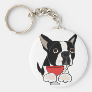 Funny Boston Terrier Dog Drinking Wine Art Keychain