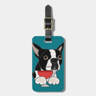 Funny Boston Terrier Dog Drinking Wine Art Luggage Tag