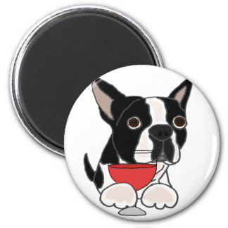 Funny Boston Terrier Dog Drinking Wine Art Magnet