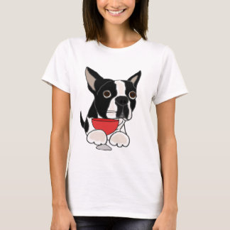 Funny Boston Terrier Dog Drinking Wine Art T-Shirt