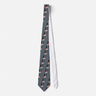 Funny Boston Terrier Dog Drinking Wine Art Tie