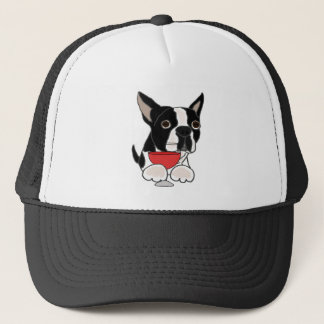 Funny Boston Terrier Dog Drinking Wine Art Trucker Hat