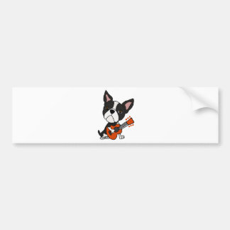 Funny Boston Terrier Dog Playing Guitar Art Bumper Sticker