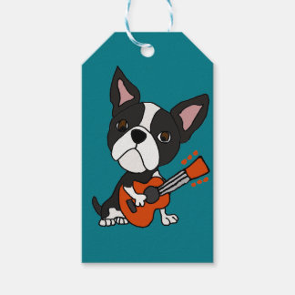 Funny Boston Terrier Dog Playing Guitar Art Pack Of Gift Tags