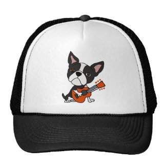 Funny Boston Terrier Dog Playing Guitar Art Trucker Hat
