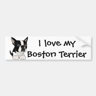 Funny Boston Terrier Puppy Dog Art Bumper Sticker