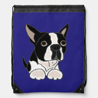 Funny Boston Terrier Puppy Dog Art Drawstring Bags
