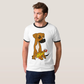 Funny Boxer Mix Dog with Rubber Chicken T-shirt