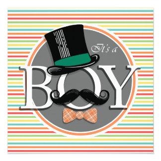 Funny Boy Baby Shower Bright Rainbow Stripes Personalized Invitation