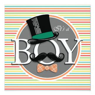 Funny Boy Baby Shower Bright Rainbow Stripes 5.25x5.25 Square Paper Invitation Card