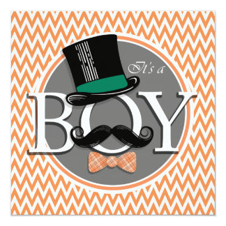 """Funny Boy Baby Shower; Orange and White Chevron 5.25"""" Square Invitation Card"""