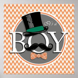 Funny Boy Baby Shower Orange and White Chevron Print