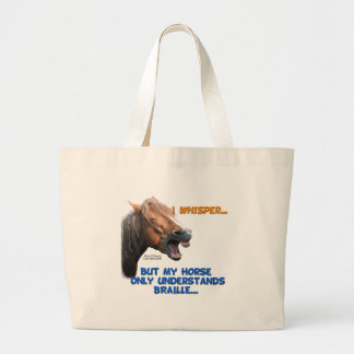 Funny Braille Horse Large Tote Bag