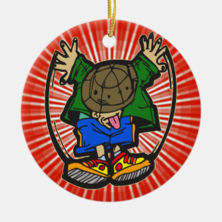 Funny Break Dance Double-Sided Ceramic Round Christmas Ornament