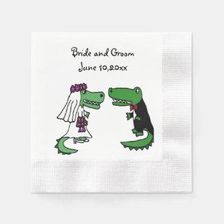 Funny Bride and Groom Alligator Wedding Art Paper Napkin