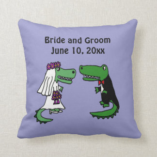 Funny Bride and Groom Alligator Wedding Art Throw Pillow