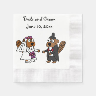 Funny Bride and Groom Beaver Wedding Design Disposable Napkins