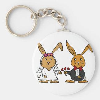 Funny Bride and Groom Brown Rabbit Wedding Cartoon Basic Round Button Keychain
