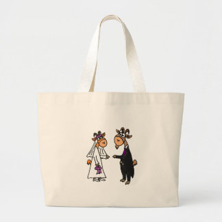 Funny Bride and Groom Goat Wedding Canvas Bag