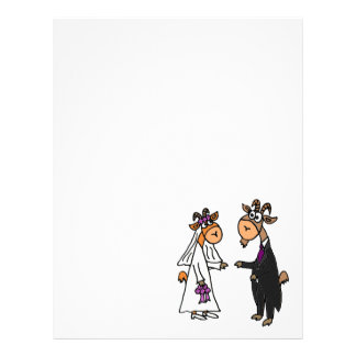Funny Bride and Groom Goat Wedding Letterhead Design
