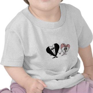 Funny Bride and Groom Hearts Art Tee Shirts