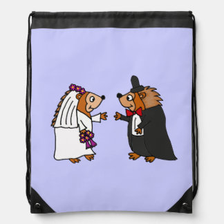 Funny Bride and Groom Hedgehog Wedding Art Backpacks