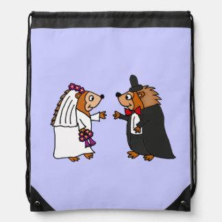 Funny Bride and Groom Hedgehog Wedding Art Backpacks