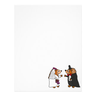 Funny Bride and Groom Hedgehog Wedding Art Letterhead Template