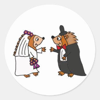 Funny Bride and Groom Hedgehog Wedding Art Round Sticker