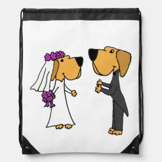 Funny Bride and Groom Labrador Retriever Art Cinch Bags
