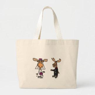 Funny Bride and Groom Moose Wedding Bags