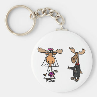 Funny Bride and Groom Moose Wedding Keychain