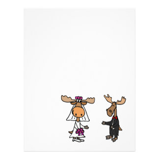 Funny Bride and Groom Moose Wedding Letterhead Template