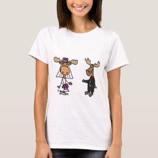 Funny Bride and Groom Moose Wedding T-Shirt