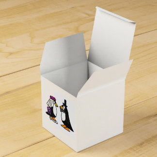 Funny Bride and Groom Penguin Favor Box