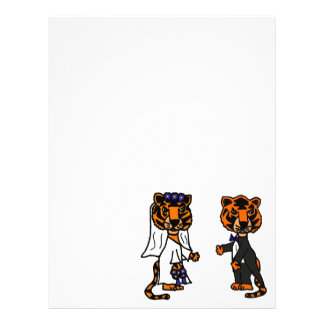 Funny Bride and Groom Tiger Wedding Art Customized Letterhead