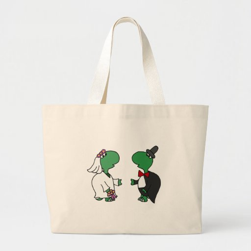 Funny Bride and Groom Turtle Wedding Design Tote Bags