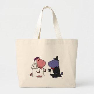 Funny Bride and Groom Wedding Cartoon Canvas Bag