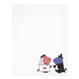 Funny Bride and Groom Wedding Cartoon Letterhead