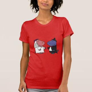 Funny Bride and Groom Wedding Cartoon Tshirts
