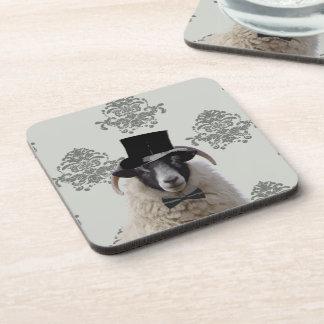 Funny bridegroom sheep in top hat drink coasters