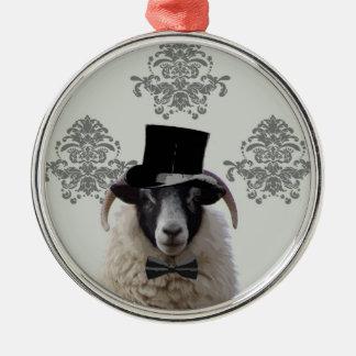 Funny bridegroom sheep in top hat metal ornament