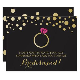 "Funny BRIDESMAID PROPOSAL card ~ Black & Faux Gold 4.25"" X 5.5"" Invitation Card"