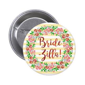Funny Bridezilla Wedding Floral Watercolor Stripes 2 Inch Round Button