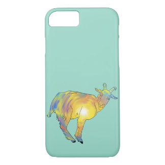 Funny Bright Yellow Multicoloured Goat Animal Art iPhone 8/7 Case